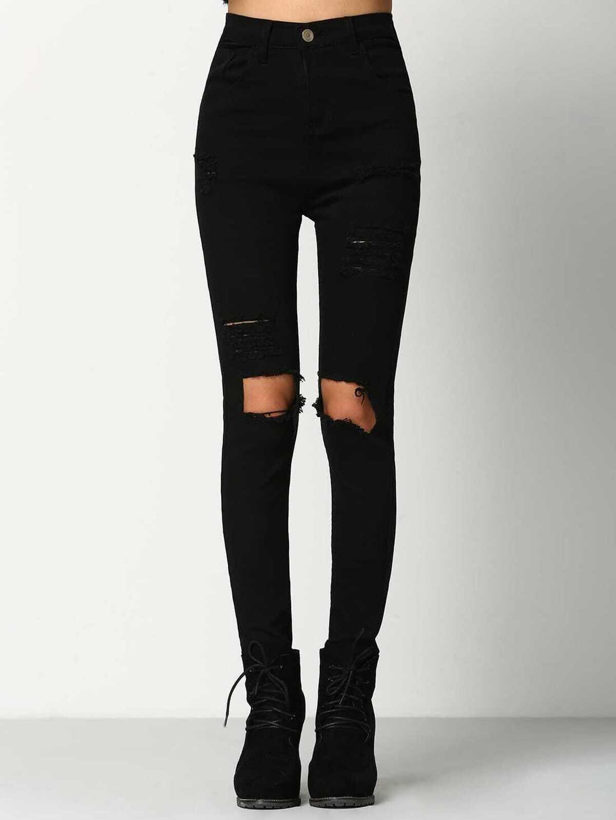 黑色 苗條 撕裂 牛仔布 褲