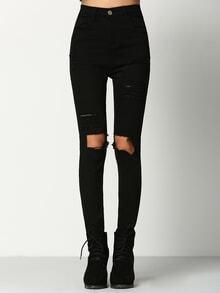 Pantalon en denim effet déchiré au genou -noir