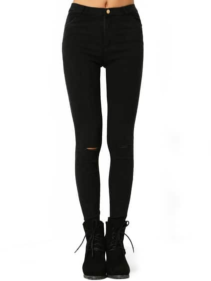 Black Skinny Ripped Denim Pant