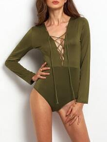 Army Green Deep V Neck Lace Up Bodysuit