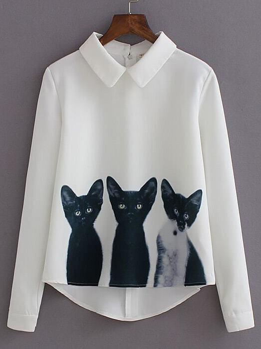 Белый Лацкан Длинный Рукав Кошки Печати Блузка
