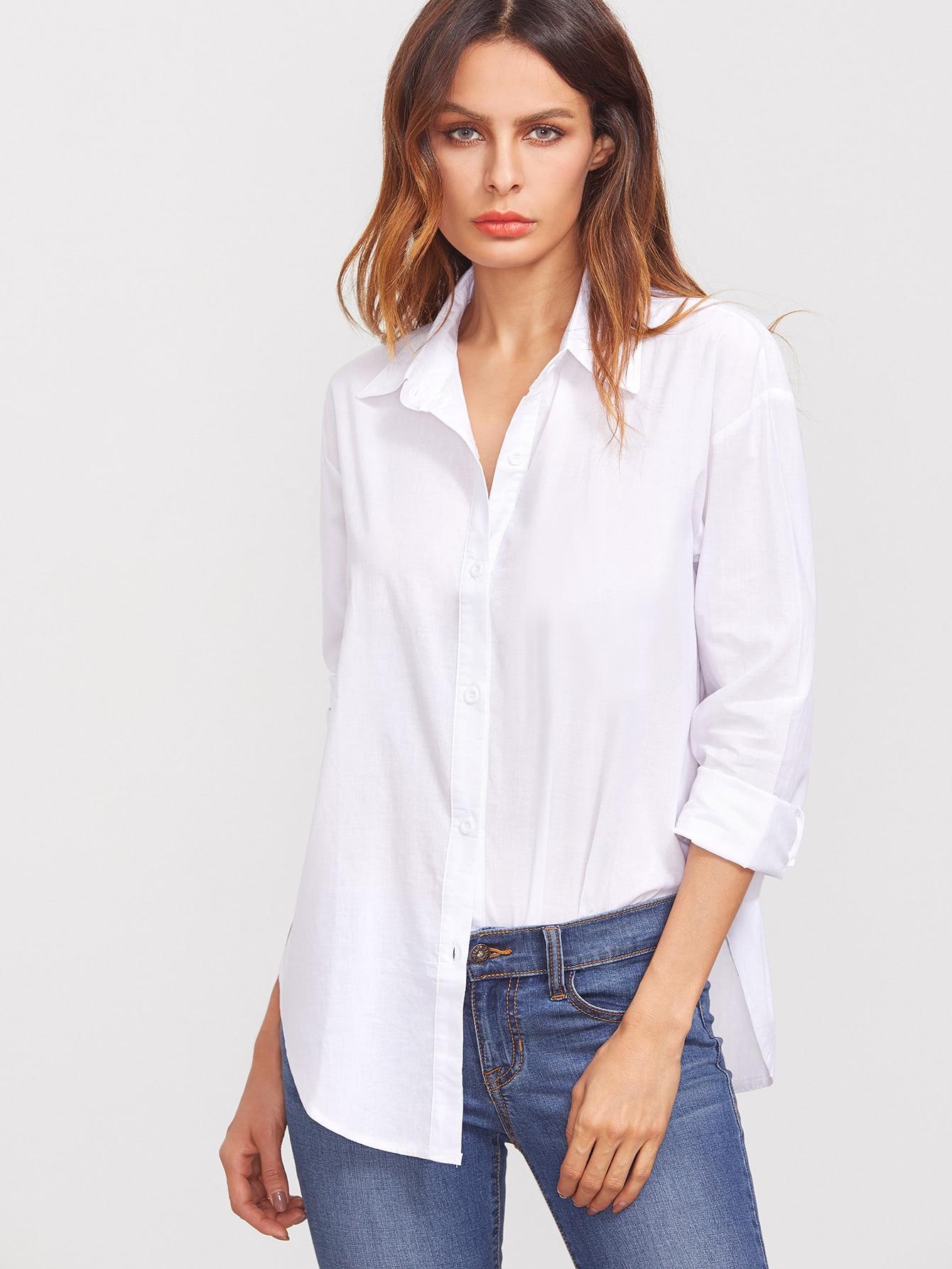 blouse col revers manche longue avec bouton blanc french romwe. Black Bedroom Furniture Sets. Home Design Ideas