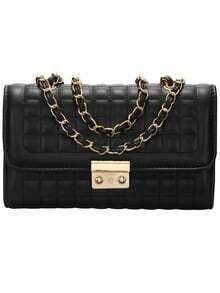 Black Plaid Chain Satchel Bag
