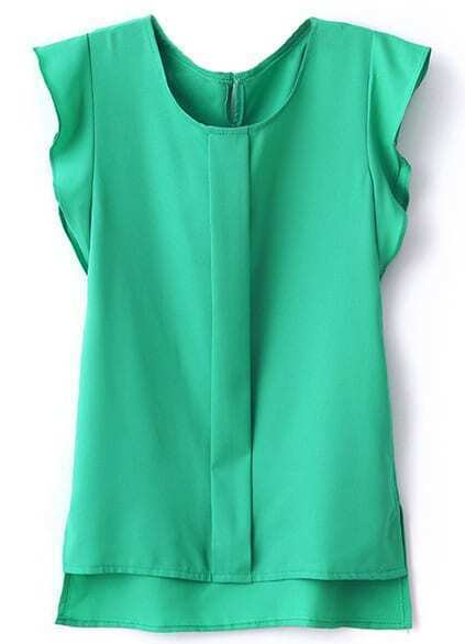 Green Puff Sleeve Split Chiffon Blouse