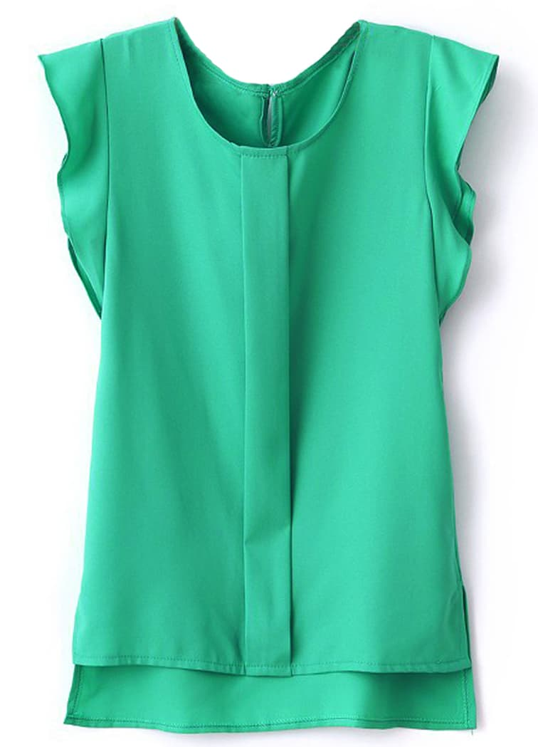 Green Puff Sleeve Split Chiffon Blousefor Women Romwe