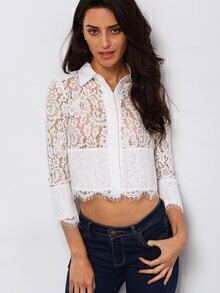 White Lapel Hollow Crop Lace Blouse