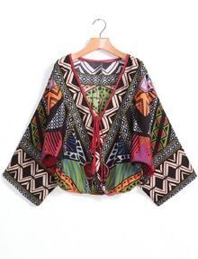 Green V Neck Tribal Print Crop Blouse
