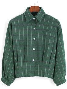 Green Lapel Preppy Appropriately Checks Plaid Buttons Crop Blouse