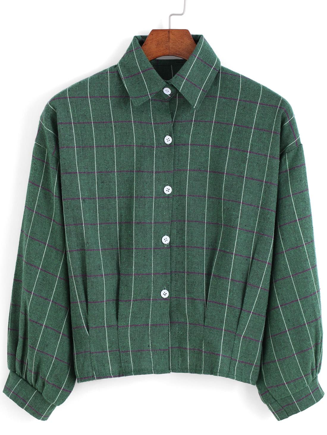 Green Lapel Preppy Appropriately Checks Plaid Buttons Crop Blouse