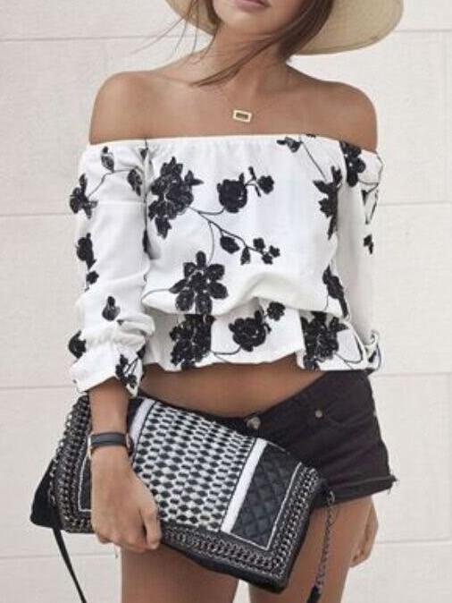 Белый черный с плеча цветочный блузка