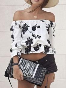 Blusa hombro al aire flores -blanco negro
