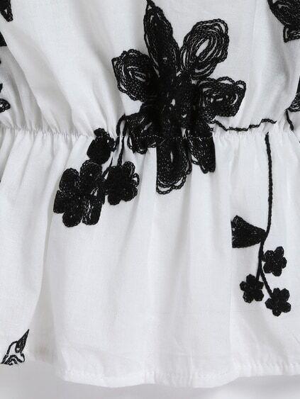 White Black Off the Shoulder Floral Blouse