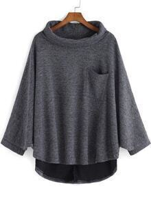 Grey High Neck Pocket Loose Cape Sweatshirt