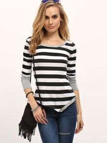 Black White Striped Asymmetrical Slim T-shirt