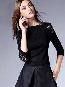 Black Round Neck Lace Sleeve Slim Top