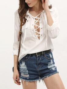 White Lapel Bandage Pockets Blouse