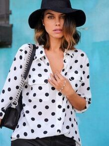 White Lapel Preppy Appropriately Polka Dot Blouse