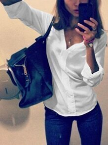 White V Neck Long Sleeve Slim Blouse
