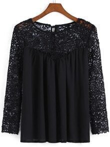 Black Round Neck Hollow Lace Blouse