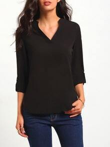 Black V Neck Dip Hem Blouse