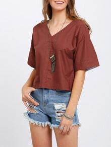 Red V Neck Loose Crop Blouse