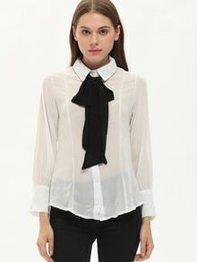 White Bow Collar Lantern Sleeve Loose Blouse