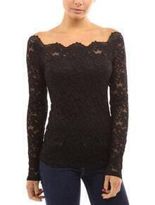 Black Lace Embroidered Off The Shoulder Blouse