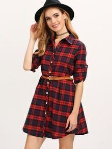 Red Blue Lapel Plaid Long Blouse