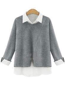 Grey Contrast Lapel Loose Blouse