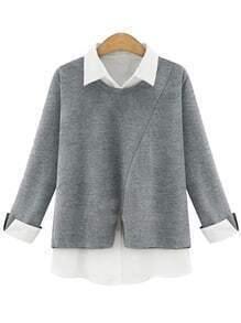 Grey Contrast Lapel Loose Blouse