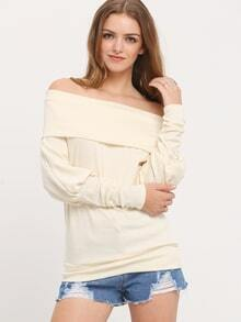 Apricot Boat Neck Loose Top
