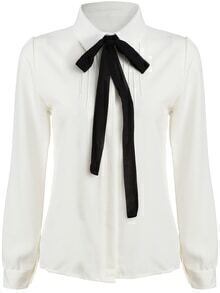White Tie-neck Long Sleeve Slim Blouse