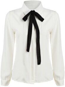 White Tie-neck Long Sleeve Slim Blouse