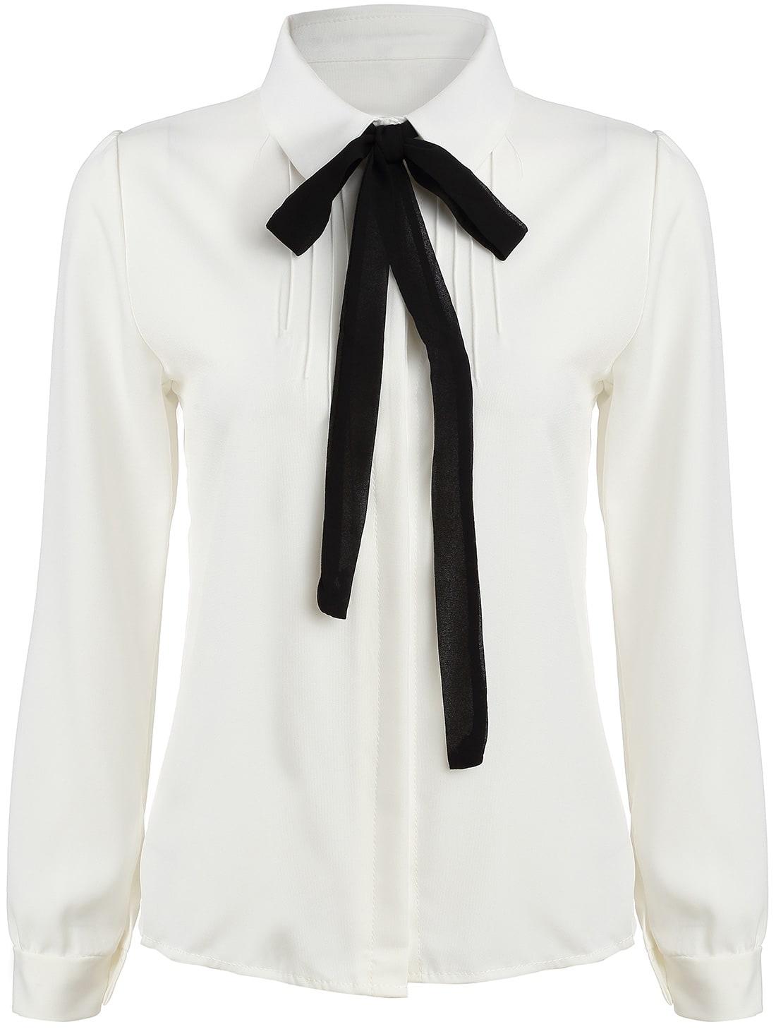White Satin Long Sleeve Blouse 78