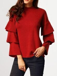 Red Stand Collar Cascading Ruffle Sleeve Blouse