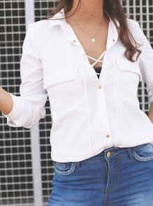 White Long Sleeve Lace Up Blouses