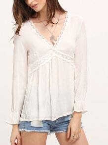 White Deep V-neck Long Sleeve Blouses