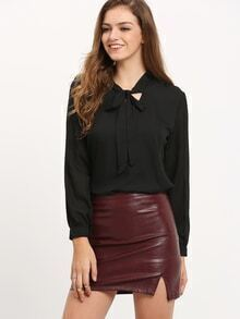 Black Tie-neck Long Sleeve Chiffon Blouse