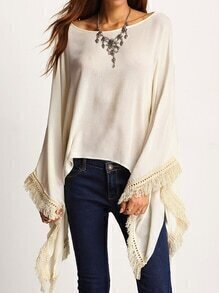 Apricot Lace Crochet Fringe Loose Top