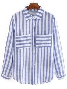 Blue White Vertical Stripe Pockets Blouse
