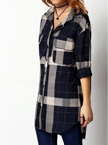 Navy Grey Lapel Plaid Pockets Blouse