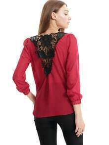Red Long Sleeve Lace Back Chiffon Blouse