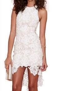 White Sleeveless Lace High Low Dress
