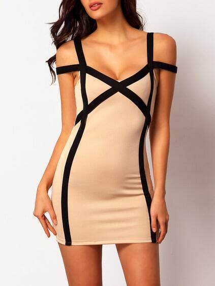 Apricot Buisness Reverse Strap Slim Bodycon Dress