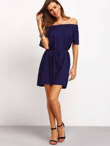 Navy Off The Shoulder Shift Tube Dress