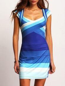 Vestido manga corta entallado -azul