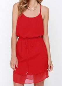 Red Spaghetti Strap Hollow Back Dress
