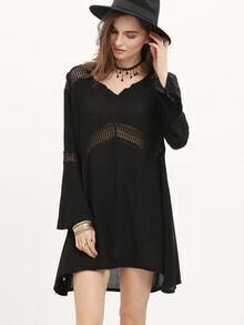 Black V Neck Bell Sleeve Hollow Dress