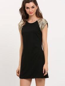 Black Raglan Contrast Short Sleeve Colorblock Slim Dress