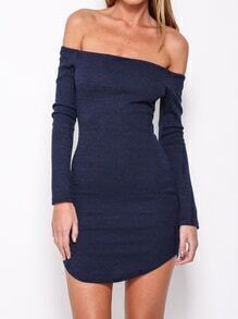 Navy Cheesecloth Boat Neck Slim Knit Bodycon Dress